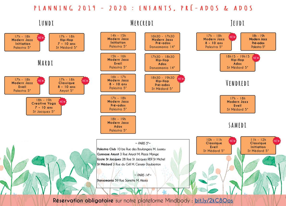 Planning danse enfants et ados 2019 - 2020