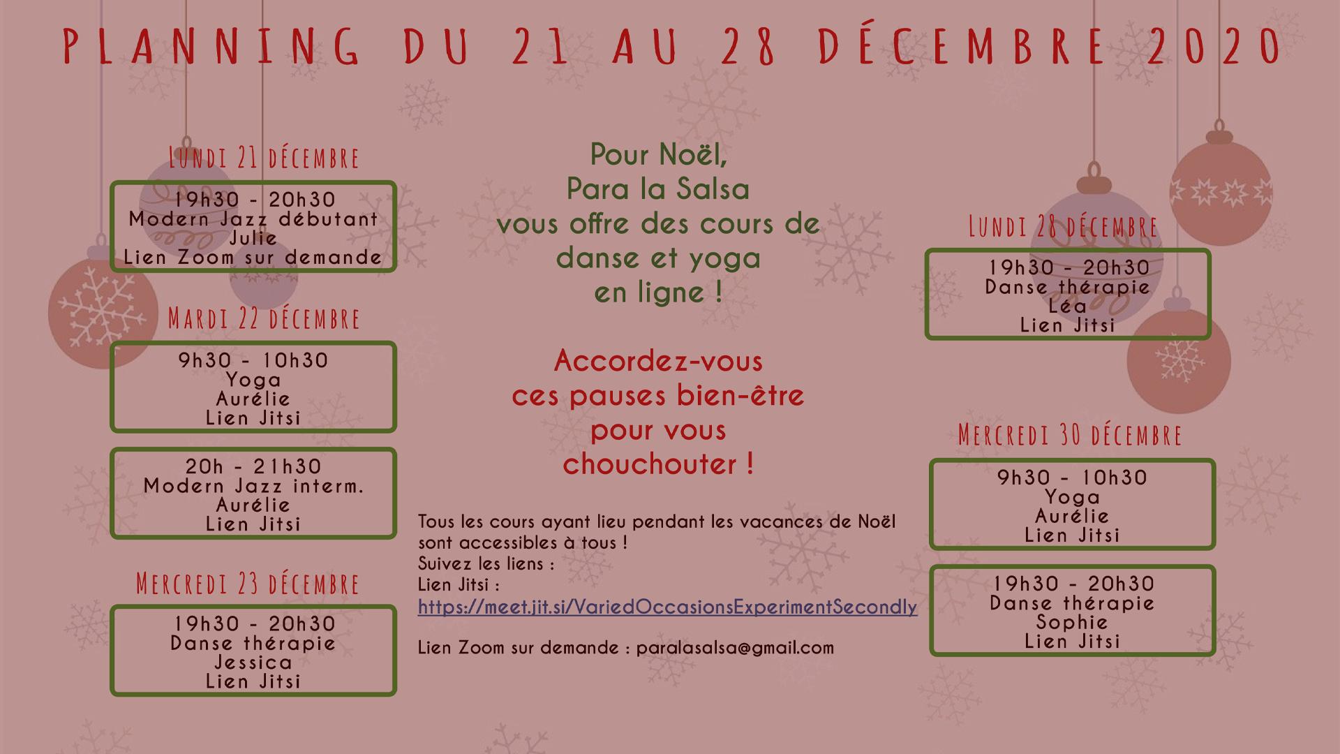 Votre cadeau pour les vacances : des cours de danse et yoga offerts