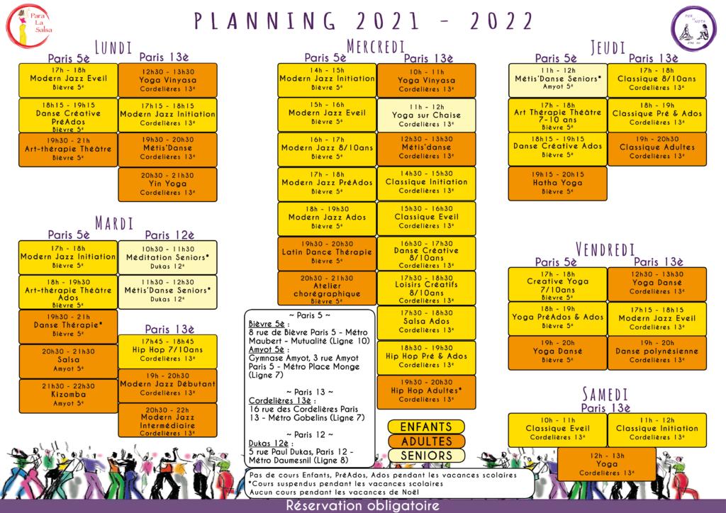 Para la Salsa Paris 5 Paris 13 planning cours 2021 - 2022